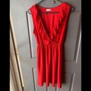 Womens Small red sleeveless dress w/ ruffle design